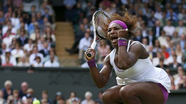 Jumping for joy ... Serena Williams through to the fourth round.