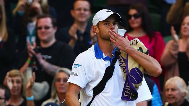Andy Roddick of the USA blows a kiss to the crowd in what may be his last match at the All England championships.