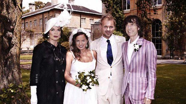 Jade Jagger with husband  Adrian Fillary  and her parents Bianca and Mick Jagger.