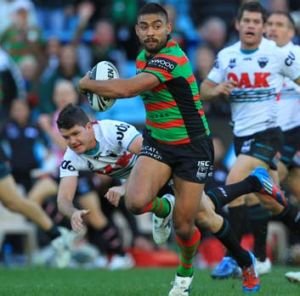 Nathan Merritt breaks away from the Panthers defence.