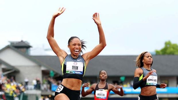 Clear winner: Allyson Felix strides to success in  the 200 metres at the US Olympic trials.