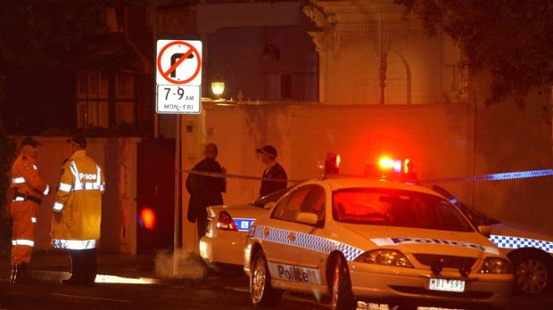 The scene of Michael Marshall's murder, on the coner of Joy Street and Williams Road, South Yarra.