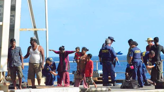 Refugees from Sri Lanka arrive for processing at Christmas island last week.