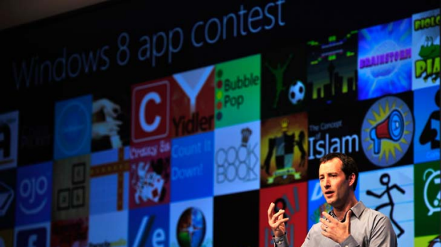 Corporate vice president of Windows Web Services, Antoine Leblond, shows off apps in the Windows 8 store.