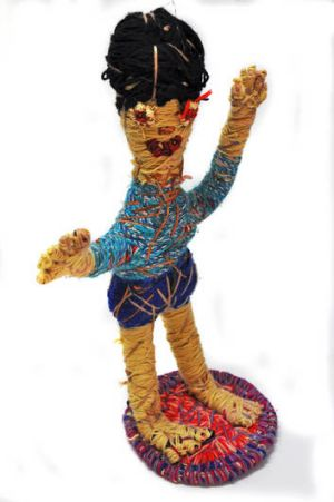 <i>Dancing Tjitji</i> by Jean Burke, a member of the Tjanpi Desert Weavers.