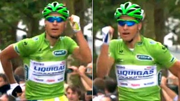 Peter Sagan celebrates his victory in the third stage of the Tour de France with an arm-pumping, Forrest Gump running ...