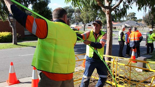 NBN Co workers haul fibre cables in South Morang, where foresight by council meant conduits were installed ahead of demand.