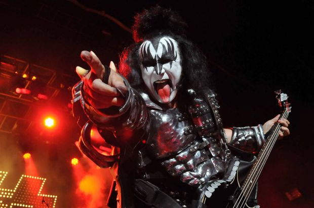 Gene Simmons of US rock group Kiss performs live on stage, for a one-off Independence Day show as a fundraiser for the ...