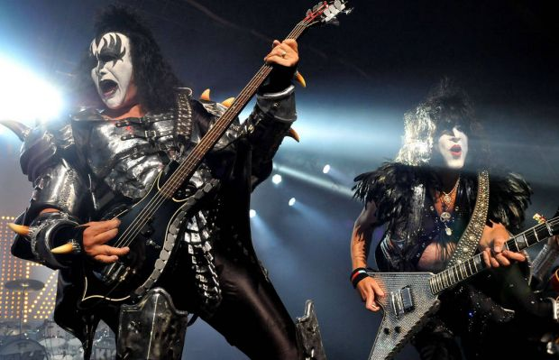 Gene Simmons and Paul Stanley of US rock group Kiss perform live on stage, for a one-off Independence Day show as a ...