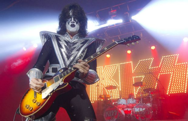 Guitarist Tommy Thayer of U.S rock band, Kiss, performs on stage at the Kentish Town Forum, north London, Wednesday, ...