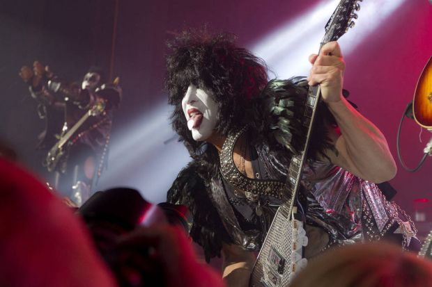 Singer and guitarist Paul Stanley, right, of U.S rock band, Kiss, performs on stage at the Kentish Town Forum, north ...