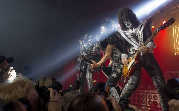 U.S rock band members of Kiss, from left to right, singer/bassist Gene Simmons, singer/guitarist Paul Stanley and ...