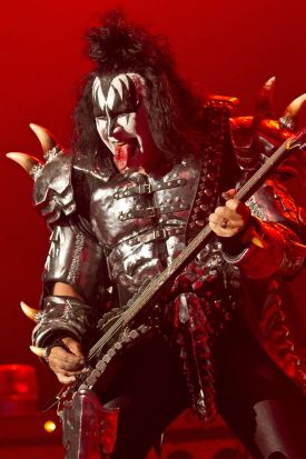 Gene Simmons, singer and bassist  of U.S rock band, Kiss, performs on stage at the Kentish Town Forum, north London, ...