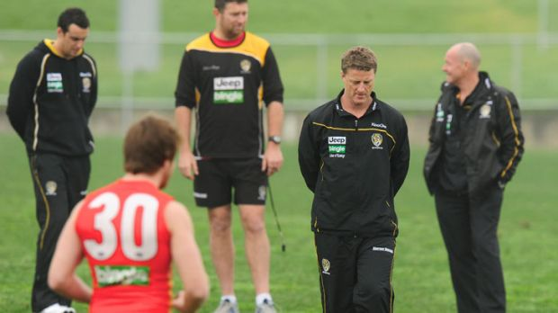 Not backing down: Richmond coach Damien Hardwick at training today.
