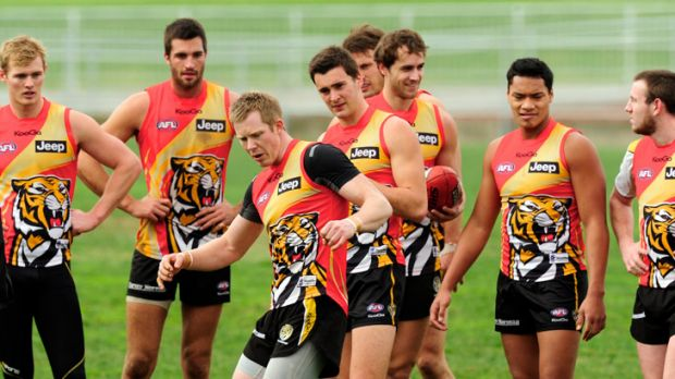 Roaring to go: Richmond's Jack Riewoldt showed off a few moves to teammates during training yesterday.