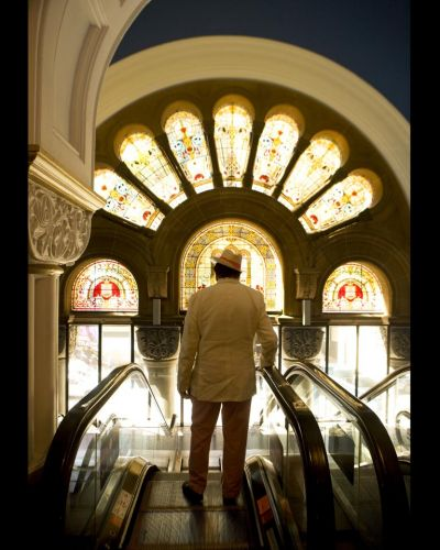 Humphries pictured in front of the stained glass, George Street-facing windows of the Queen Victoria Building, which he ...