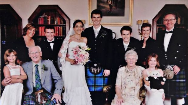 Photo provided by Jim Cullens shows (3rd back from right) Andy Murray at his brother's wedding.