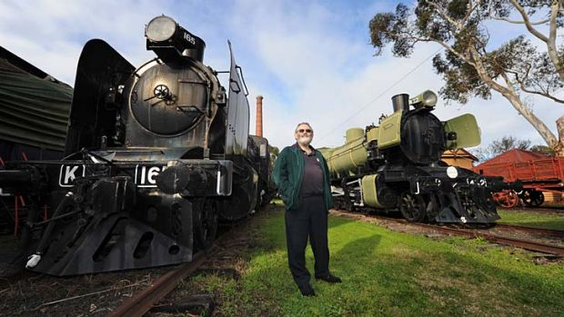 Rusting giants: Wayne Brown with locomotives at the train museum in Newport, which is scheduled for reopening later this ...