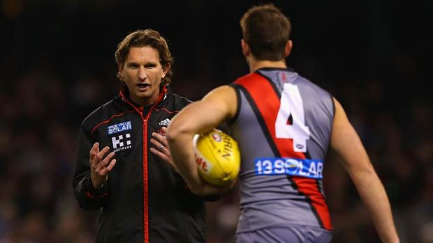 Grey area: Bomber coach James Hird was caught out by several of the Saints' moves.