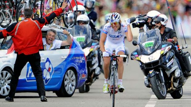 The youngest rider in the field, Thibaut Pinot of France, wins stage eight.