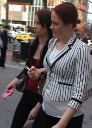 Jessica Croucher (right) outside court.