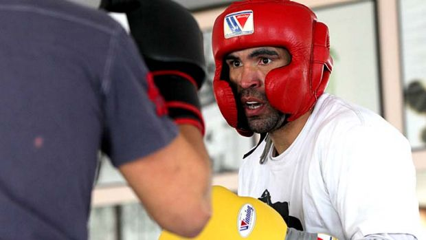 Anthony Mundine preparing for his Las Vegas bout in Redfern last month.