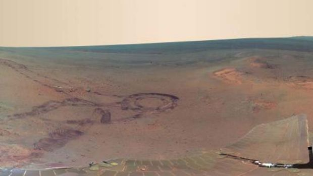 A section of the NASA shot of Mars. See the full scale picture on  <a ...