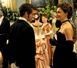 Hugh Dancy as Mortimer  Granville and Maggie Gyllenhaal as Charlotte Dalrymple in 'Hysteria'.