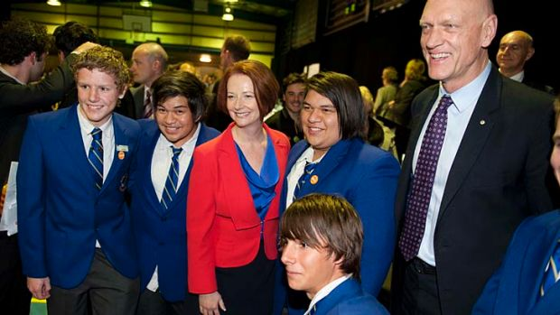 Prime Minister Julia Gillard and Minister for School Education, Early Childhood and Youth Peter Garrett pose for ...