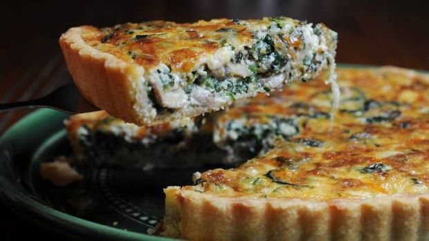Spinach and mushroom quiche.