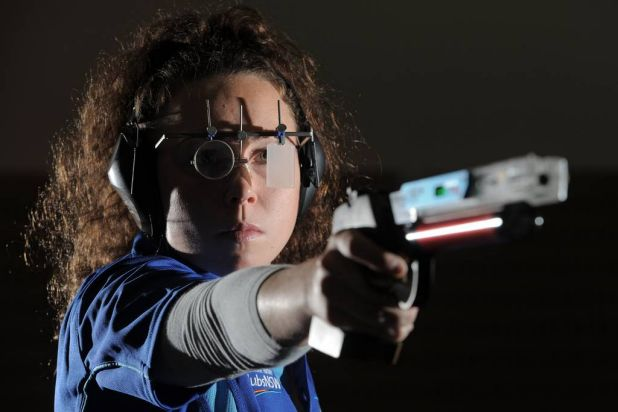 Young gun ... in addition to pistol shooting, 20-year-old modern pentathlete Chloe Esposito is also a star of fencing, ...