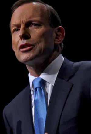 """Adamant ... Opposition Leader Tony Abbott stands behind his """"turn back the boats"""" pledge."""