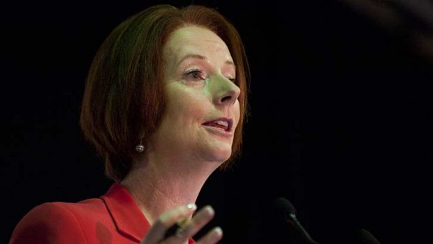 Prime Minister Julia Gillard speaks during a public forum with locals after a community cabinet meeting at Redbank ...