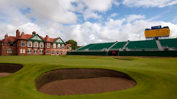 The 18th green at the Royal Lytham & St Annes golf club which hosts the British Open.