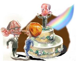 Different parties, different positioning on gay marriage. <em>Ilustration: Rocco Fazzari</em>