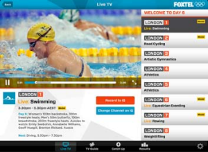 A screenshot of Foxtel's Lonond 2012 Olympics Games app.