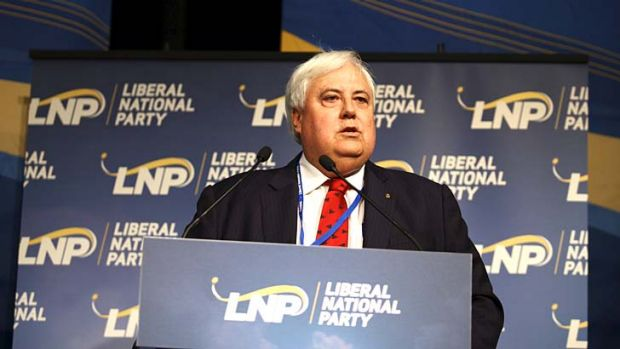 Clive Palmer addresses the LNP convention in Brisbane in July.