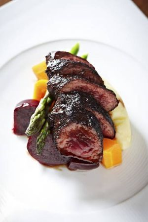 Native-spiced kangaroo loin.