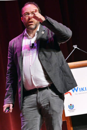 """""""It's time for us to update"""" ... Wikipedia founder Jimmy Wales speaks during the Wikimania 2012 conference."""