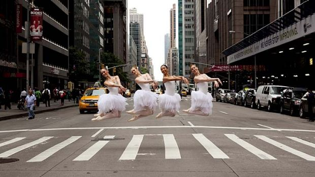 Grateful for the gifts … members of the Australian Ballet stopped traffic in New York last month, where they were ...