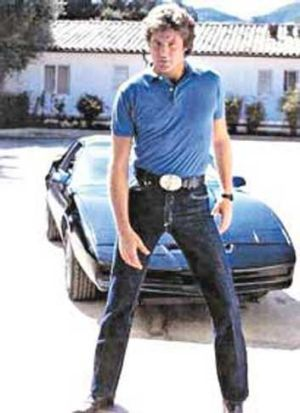 An 80s David Hasselhoff stikes a pose as Michael Kinght in <i>Knight Rider</i>.
