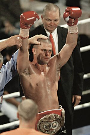 Winner's corner … Taylor wins the IBF Pan Pacific light middleweight title in 2003.