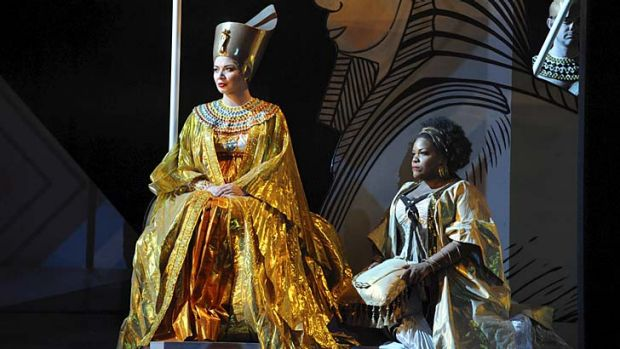 Balance, colour and flow … Milijana Nikolic, regal and firm as Amneris, and Latonia Moore, a huge presence in the ...