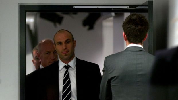 Judgment day: Chris Judd at the AFL tribunal on Tuesday night.