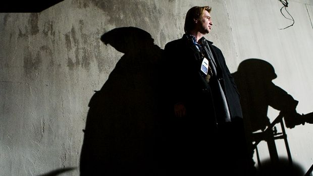 Christopher Nolan on the set of <i>The Dark Knight Rises</i>.