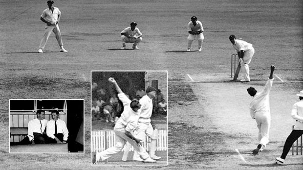 A composite of images from the first cricket Test against South Africa in Brisbane on December 8, 1963, during which ...