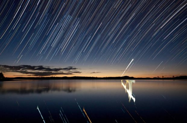 """Star Trails over Lake Wivenhoe""."