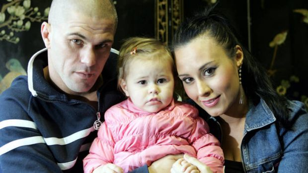 Split decision … with then girlfriend, Bec, and their daughter, Nathalia, in 2005.