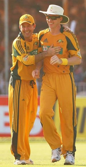 Ricky Ponting and Brett Lee after a wicket against India in 2009.