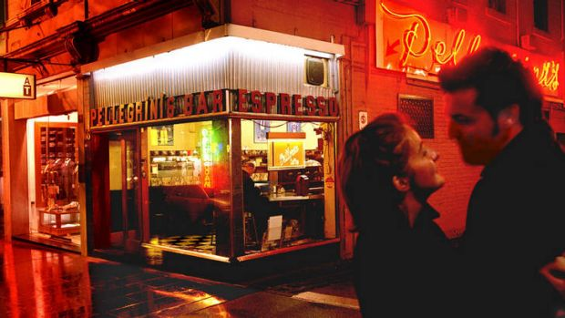 One of Melbourne's iconic Italian restaurants, Pellegrini's, in Bourke Street.